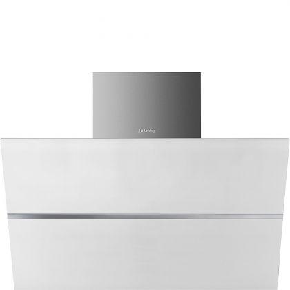 Hota de perete Smeg Linea KCV80BE2, 80 cm, Inox + sticla alba