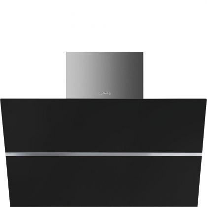 Hota de perete Smeg Linea KCV80NE2, 80 cm, Inox + sticla neagra