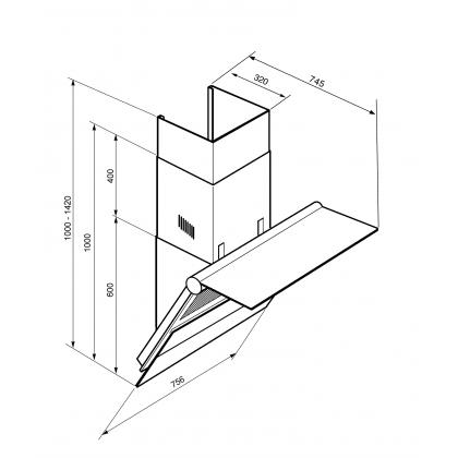 Hota de perete Smeg Linea KTS75BCE2, 75 cm, Inox + sticla alba