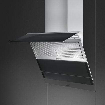 Hota de perete Smeg Linea KTS75NCE2, 75 cm, Inox + sticla neagra