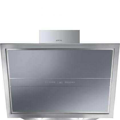 Hota de perete Smeg Linea KCV9SE2, 90 cm, Inox + Silver glass