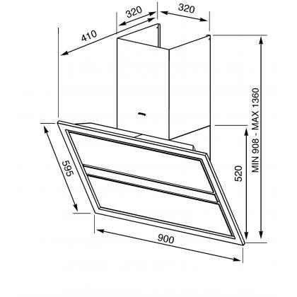 Hota de perete Smeg Linea KCV9NE2, 90 cm, Inox + sticla neagra