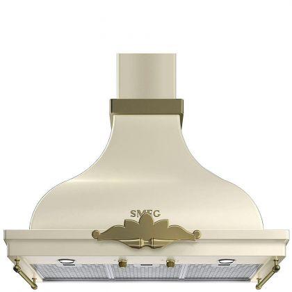 Hota semineu Smeg Cortina KCM900POE, 90 cm, crem, estetica alama, retro