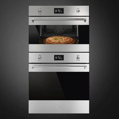 Cuptor incorporabil electric compact Smeg Classic SFP4390XPZ, 60 cm, inox, pirolitic, functie pizza