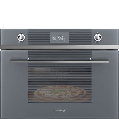 Cuptor incorporabil electric compact Smeg Linea SFP4102PZS, 60 cm, Silver Glass, pirolitic, functie pizza