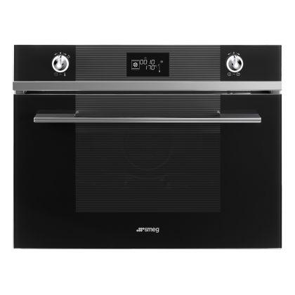 Cuptor incorporabil compact combinat cu aburi Smeg Linea SF4102VCN, 60 cm, negru, Vapor Clean