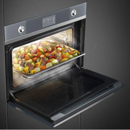 Cuptor incorporabil compact combinat cu aburi Smeg Linea SF4102VCS, 60 cm, silver glass, Vapor Clean