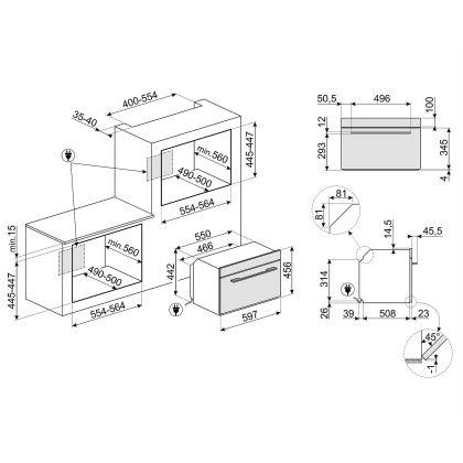 Cuptor incorporabil compact combinat cu microunde Smeg Linea SF4104MCN, 60 cm, negru, Vapor Clean