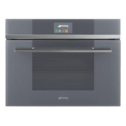 Cuptor incorporabil compact combinat cu microunde Smeg Linea SF4104MCS, 60 cm, silver glass, Vapor Clean