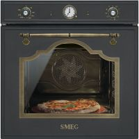 Cuptor incorporabil electric Smeg Cortina SFP750AOPZ, 60 cm, antracit, pirolitic, retro, pizza