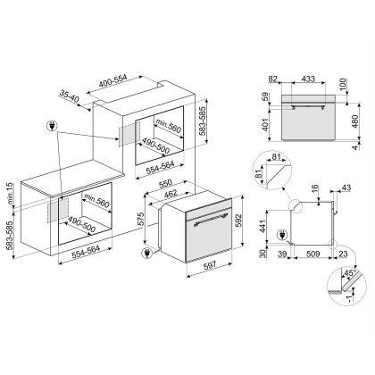 Cuptor incorporabil electric Smeg Cortina SFP750AOPZ, 60 cm, antracit, pirolitic, retro, pizza