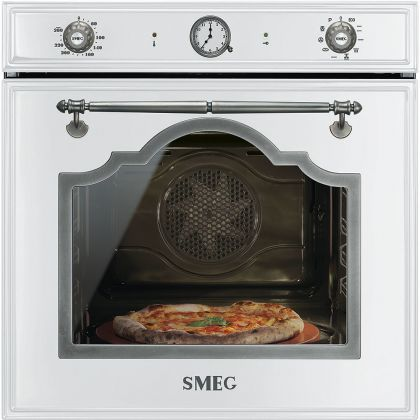 Cuptor incorporabil electric Smeg Cortina SFP750BSPZ, 60 cm, alb, pirolitic, retro, pizza