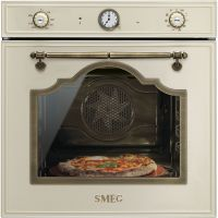 Cuptor incorporabil electric Smeg Cortina SFP750POPZ, 60 cm, crem, pirolitic, retro, pizza