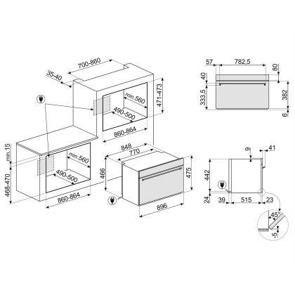 Cuptor incorporabil electric compact Smeg Classic SFR9300X, 90 cm, inox, Vapor Clean