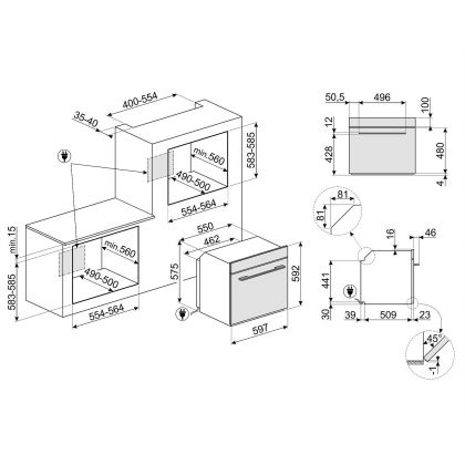 Cuptor incorporabil electric Smeg Linea SF6102PZS, Silver Glass, Vapor Clean, functie pizza