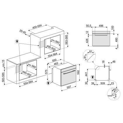 Cuptor incorporabil electric Smeg Linea SF6101VS, 60 cm, silver glass, Vapor Clean