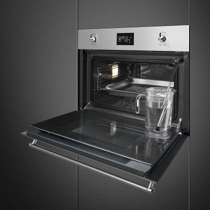Cuptor incorporabil electric compact cu aburi Smeg Classic SF4390VCX1, 60 cm, inox, Vapor Clean