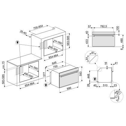 Cuptor incorporabil electric compact Smeg Classic SF9390X1, 90 cm, inox, Vapor Clean