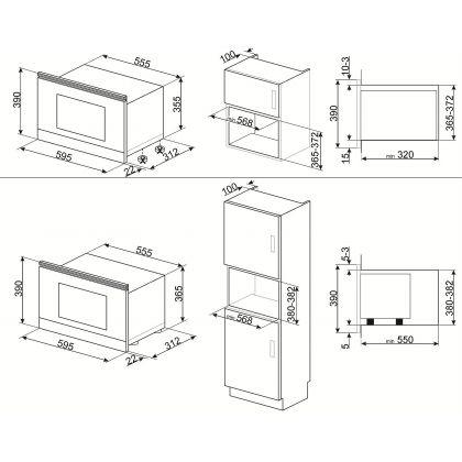 Cuptor incorporabil compact cu microunde Smeg Linea MP122N1, 60 cm, negru
