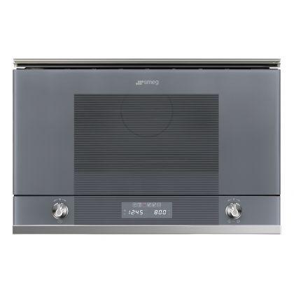 Cuptor incorporabil compact cu microunde Smeg Linea MP122S1, 60 cm, silver glass