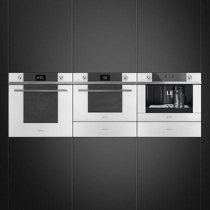 Cuptor incorporabil compact combinat cu microunde Smeg Linea SF4102MCB, 60 cm, alb, Vapor Clean