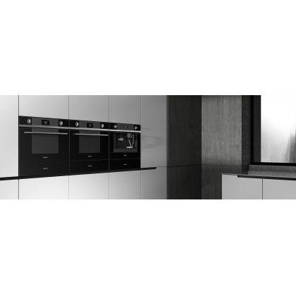 Cuptor incorporabil compact combinat cu microunde Smeg Linea SF4102MCN, 60 cm, negru, Vapor Clean