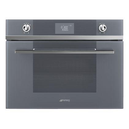 Cuptor incorporabil compact combinat cu microunde Smeg Linea SF4102MCS, 60 cm, silver glass, Vapor Clean