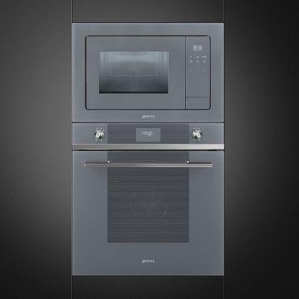 Cuptor incorporabil cu microunde Smeg Linea FMI120S1, 60 cm, silver glass
