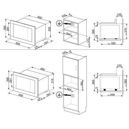 Cuptor incorporabil cu microunde Smeg Linea FMI120N1, 60 cm, negru