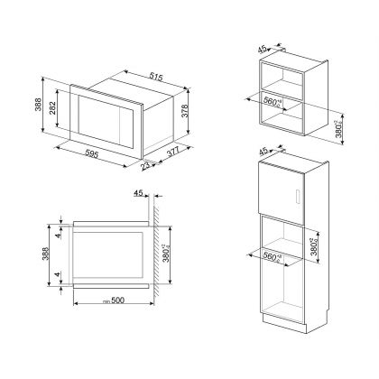 Cuptor incorporabil cu microunde Smeg Classic FMI325X, 60 cm, inox