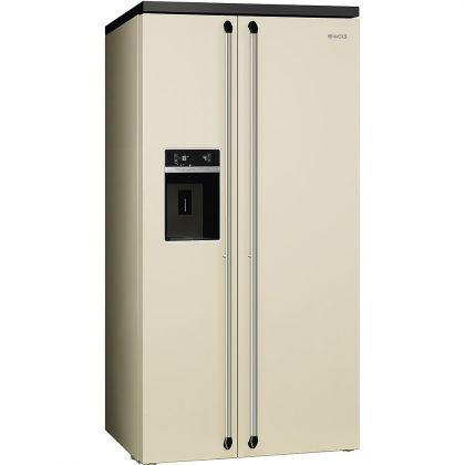 Combina frigorifica Side by Side Smeg Victoria SBS963P, 90 cm, crem, retro, congelator No Frost