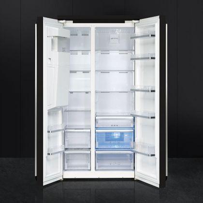 Combina frigorifica Side by Side Smeg Victoria SBS963N, 90 cm, negru, retro, congelator No Frost
