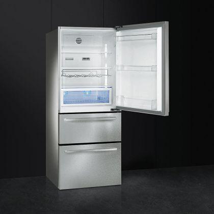 Combina frigorifica cu 3 usi Smeg FT41BXE, 74 cm, inox, congelator No Frost