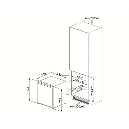 Congelator incorporabil cu o usa Smeg S3F072P, A+, static