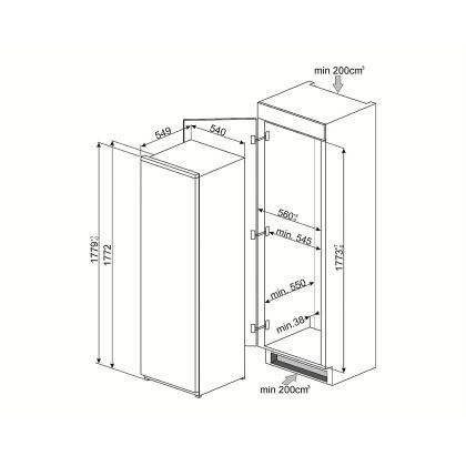 Frigider incorporabil cu o usa Smeg S7298CFEP1, A+, compartiment congelator