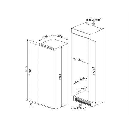 Frigider incorporabil cu o usa Smeg SD7323LFLD2P1, A++, ventilat