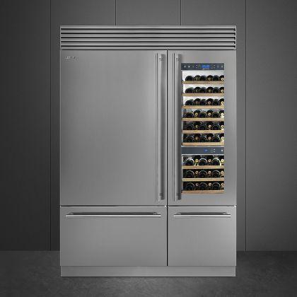 Racitor de vinuri Smeg WF366RDX, 59 cm, rafturi lemn, 54 sticle, 2 zone de racire, multizona