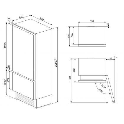 Combina frigorifica incorporabila Smeg RI76RSI, A+, congelator No Frost, 75 cm