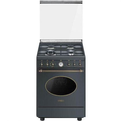 Aragaz mixt Smeg Colonial CO68GMA8, 60 cm latime, retro, antracit, Vapor Clean
