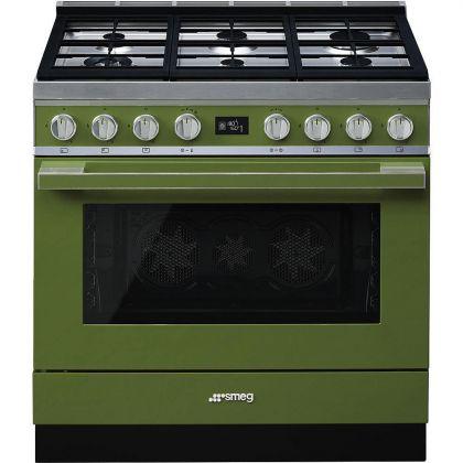 Masina de gatit mixta Smeg Portofino CPF9GPOG, 90 cm, verde, 6 arzatoare, pirolitic
