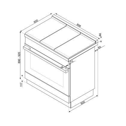 Masina de gatit mixta Smeg Portofino CPF9GPX, 90 cm, inox, 6 arzatoare, pirolitic
