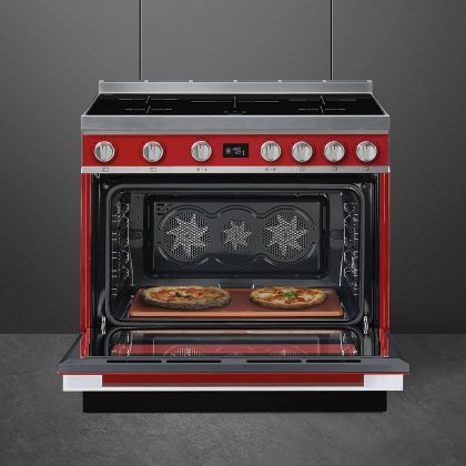 Masina de gatit electrica Smeg Portofino CPF9IPR, rosu, 90 cm latime, plita inductie, pirolitic