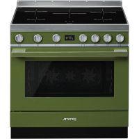 Masina de gatit electrica Smeg Portofino CPF9IPOG, verde, 90 cm latime, plita inductie, pirolitic