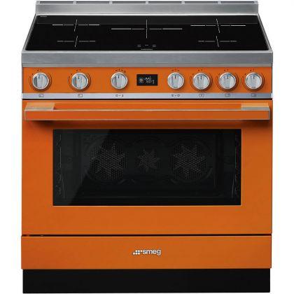 Masina de gatit electrica Smeg Portofino CPF9IPOR, portocaliu, 90 cm latime, plita inductie, pirolitic