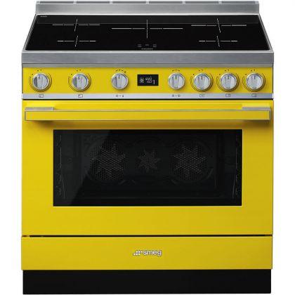 Masina de gatit electrica Smeg Portofino CPF9IPYW, galben, 90 cm latime, plita inductie, pirolitic