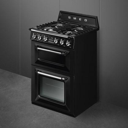 Aragaz mixt Smeg Victoria TR62BL, negru, 60 cm latime, retro