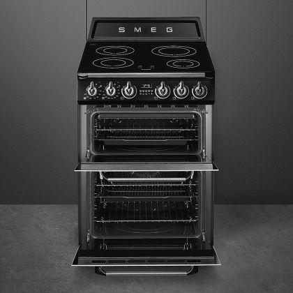 Aragaz electric Smeg Victoria TR62IBL, negru, 60 cm latime, retro, plita inductie