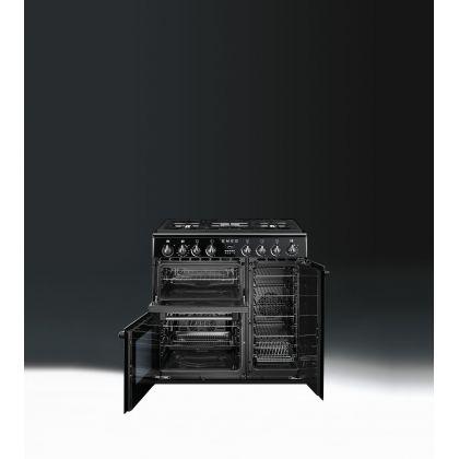 Masina de gatit mixta Smeg Victoria BM93BL, negru, 90 cm, retro, wok, 3 cuptoare