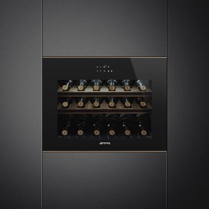 Racitor de vinuri incorporabil compact Smeg Dolce Stil Novo CVI618RWNR2, 18 sticle, balamale dreapta, Wifi, finisaje cupru