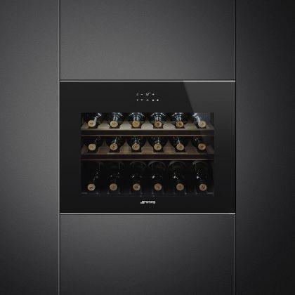 Racitor de vinuri incorporabil compact Smeg Dolce Stil Novo CVI618LWNX2, 18 sticle, balamale stanga, Wifi, finisaje inox